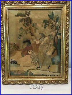 Antique Georgian Silk Embroidery Picture Of Shepherd & Shepherdess