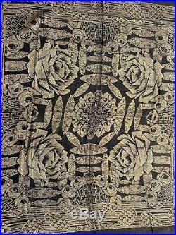 Antique Gold Lamé & Black Silk Piano Shawl Roses Art Deco Floral Fine 50 + Vtg