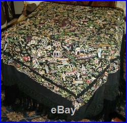 Antique Huge Heavy Embroidery Silk Chinese Piano Scarf Tablecloth Shawl Lace
