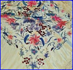 Antique Immense Embroidery Flowers & Berries Silk 20 Fringe Piano Scarf Shawl