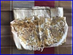 Antique Islamic Ottoman Turkish Gold Metallic Thread Embroidery on Silk Cloth
