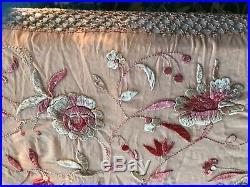 Antique Italian Peach Pink Silk Piano Shawl A Riot Of Romantic Roses