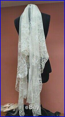 Antique Lace Silk 90 X 27 Tambour Embroidery Vintage