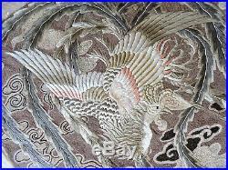 Antique Large Chinese Silk Phoenix Bird Embroidery