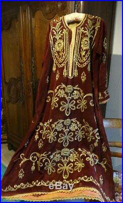 Antique Ottoman dress gold metallic embroidery XIXème silk velvet
