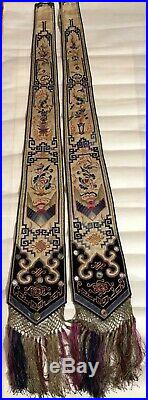 Antique Pair Chinese Silk Embroidery Panel Robe Sash 19th