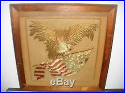 Antique Patriotic CIVIL War Eagle Patriotic Motif Embroidery Folk Art