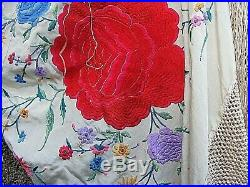Antique Piano Shawl Heavy Embroidered Silk Large Chinese Famille Rose