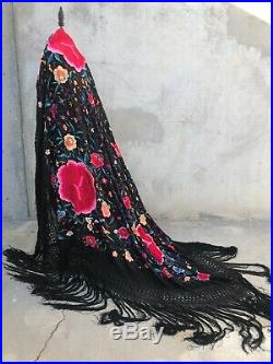 Antique Piano Shawl Huge Silk Embroidery Colorful Flowers Dense Manton Fine 64