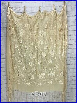 Antique Piano Shawl Silk Embroidered Fringe Cream Ivory Victorian Throw