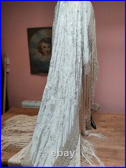 Antique Piano Shawl Silk Ivory Hand Embroidery Birds Flowers Weding Vintage Orig