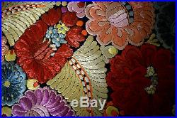 Antique Silk Hand Embroidered Unique Matyo Round Embroidery 86cm 33.85
