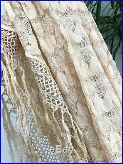 Antique Silk PIANO SHAWL Vintage FRINGED Edwardian WRAP Scarf TABLECLOTH Cover