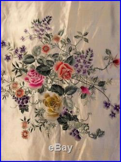 Antique Silk superb chinese hand embroidered shawl bedcover. C1920