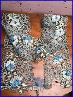 Antique Sliver Metallic Lace With Silk Ribbon Embroidery 1.5YDS X 4.5 Wide