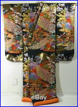 Antique Uchikake Kimono Japanese Wedding Robe Silk Embroidery Phoenix Black F/S