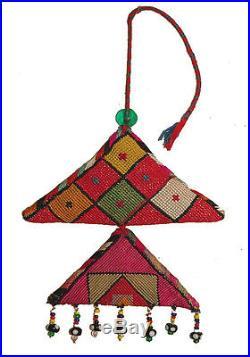 Antique Uzbek Lakai Silk Embroidery Double Amulet
