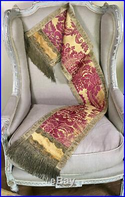 Antique Venetian Silk Damask Table Runner Gold Metallic Trimmings