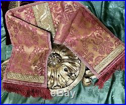 Antique Venetian Silk lampas Table Runner Gold Metallic Trimmings