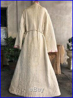 Antique Victorian White Silk Hand Quilted Dressing Gown Pink Embroidery Maxi Vtg
