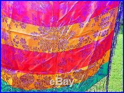 Antique Vintage Depose Italian Silk Brocade Piano Scarf Tablecloth Birds Floral