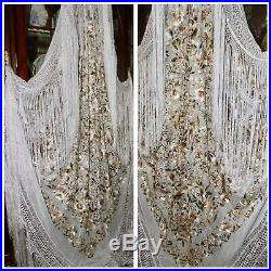 Antique Vintage Embroidered Floral Birds Butterfly White Silk Piano Shawl Manton