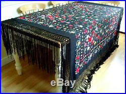 Antique / Vintage Huge Hand Embroidered Floral Silk Piano Shawl Tablecloth Throw