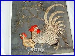 Antique Vintage Japanese Embroidery Silk Panel Cockerel Roosters Raised Silks