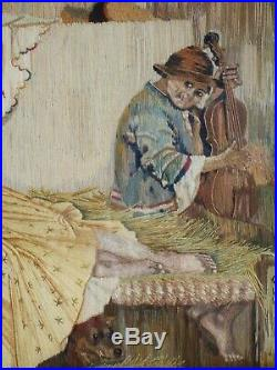 Antique Vintage Silk Work Embroidery Pictures Framed