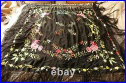 Antique black silk piano or opera shawl Peony rose & other floral embroidery