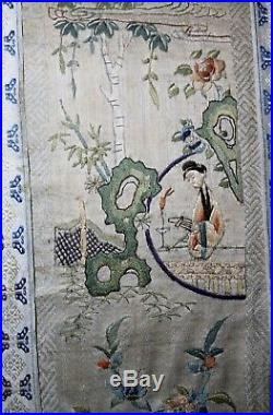 Antique hand embroidery silk 1800's ornate Qing dynasty needlepoint tapestry art