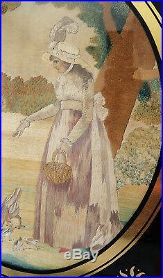 Antique rare Silk Embroidery & Watercolour Pastoral Picture C. 1790