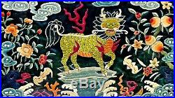 Antiue Chinese Silk Embroidery Rank Badge With Kuin Bats, Pitches On Black Silk