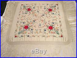 BEAUTIFUL VINTAGE CHINESE CANTON EMBROIDERED SILK SHAWL EMBROIDERY, 50 x 50