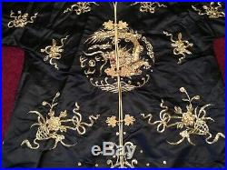 Beautiful Vintage Chinese Black Silk Gold Embroidered Robe Jacket Embroidery