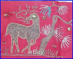 Big Antique Chinese Silk Embroidery Tok Wi with Immortals & Stag Deer (41 x 37)