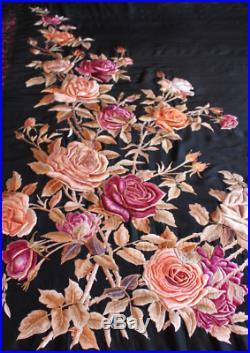 Breathtaking Manton Manila black silk hand embroidered shawl