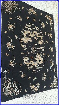 Chinese Antique Textile Dragon and Foo Lion Tapestry silk embroidery rare dragon