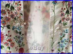 Chinese Hand Embroidered White Silk Jacket Blouse Robe Embroidery Plum Blossom
