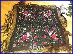 Chinese Silk Black PIANO SHAWL Large Embroidered Bird Fringed SCARF 51 x 51