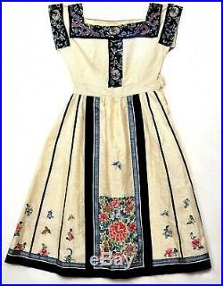 Chinese Silk Embroidery Forbidden Stitch 1920's Skirt Convert Dress Gown Robe