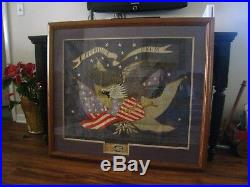 Early 1900s NAVY SILK EMBROIDERY.' SCREAMING EAGLE & FLAGS'. SIGNED, FRAMED