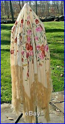 Embroidered Piano Shawl Antique 1900-1920s Silk Chinese Canton Embroidery #1