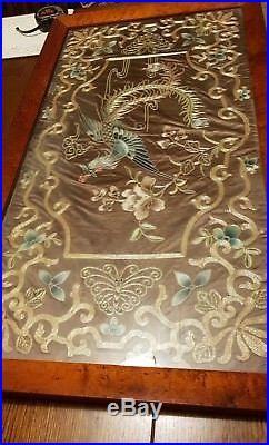 Exceptional Quality Chinese gilt work silk embroidery of a Phoenix