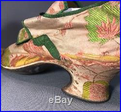 Exceptionally Rare Early 18th Century English Silk Brocade Shoes