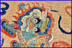 Extraordinary! Antique 19th Century Foo Lions Chinese Silk Tapestry Embroidery