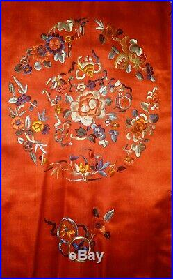 Fine Antique Chinese Qing Embroidery Red Black Silk Robe Flowers Symbols Panel