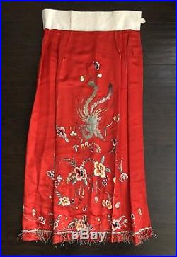 Fine Antique Chinese Silk Embroidery Ladies Womens Skirt Robe Panel Floral Art