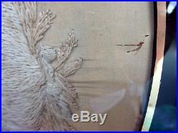 Fine Antique Georgian Stumpwork Picture Wool Silk Work Embroidery Harvest Scene