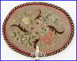 Fine Antique Victorian Face Screen (1), Silk Embroidery, Chenille, Carved Handle